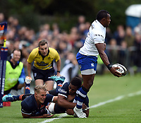 Semesa Rokoduguni of Bath Rugby looks to offload the ball after being tackled. Pre-season friendly match, between Edinburgh Rugby and Bath Rugby on August 17, 2018 at Meggetland Sports Complex in Edinburgh, Scotland. Photo by: Patrick Khachfe / Onside Images