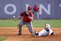 NJIT Highlanders second baseman Tom Brady (23) waits for a throw as Hunter Lee (2) of the High Point Panthers steals second base during game one of a double-header at Williard Stadium on February 18, 2017 in High Point, North Carolina.  The Panthers defeated the Highlanders 11-0.  (Brian Westerholt/Four Seam Images)