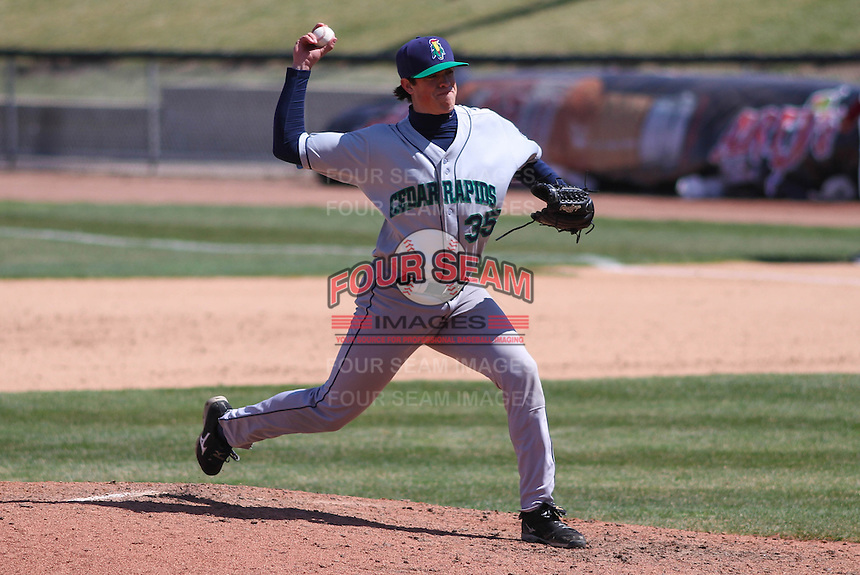 Cedar Rapids Kernels pitcher Trevor Hildenberger (35) delivers a pitch during a game against the Wisconsin Timber Rattlers on April 23rd, 2015 at Fox Cities Stadium in Appleton, Wisconsin.  Cedar Rapids defeated Wisconsin 3-0.  (Brad Krause/Four Seam Images)