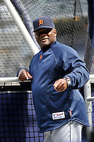 Apr 02, 2011; Bronx, NY, USA; Detroit Tigers coach Lloyd McClendon (8) before game against the New York Yankees at Yankee Stadium. Yankees defeated the Tigers 10-6. Mandatory Credit: Tomasso De Rosa