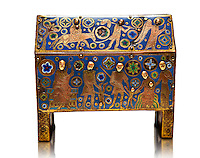 Gothic chest decorated with the Slaughter of the Innocents from Limoges Circa 1210-1220. Engraved copper with inlaid enamel  enamel champlevé and glass on wooden core. National Museum of Catalan Art, Barcelona, Spain, inv no: MNAC 65529