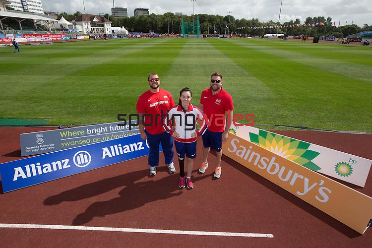 IPC European Athletics Championship 2014<br /> Swansea University<br /> L-R: Aled Davies, Stefanie Reid & Dan Greaves.<br /> 18.08.14<br /> ©Steve Pope-SPORTINGWALES