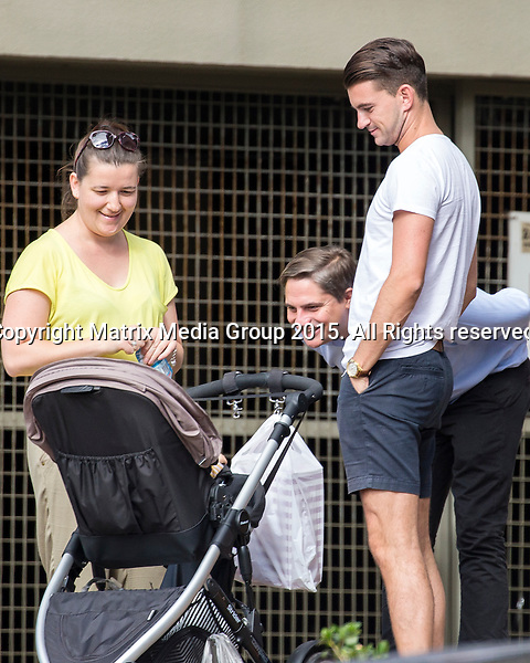 24 APRIL 2015 SYDNEY AUSTRALIA<br /> <br /> EXCLUSIVE PICTURES<br /> <br /> MKR's Steve Flood and Will Stewart pictured  greeting a fan outside Woolworths Neutral Bay. The eager fan spotted the english lads on their way in and decided to wait for them to leave to ask for a photo. On their way out with a few deli items Steve and Will were ambushed by the fan eagerly waiting with her baby in a pram. The lads were quick to respond with Steve picking the baby up out of the pram for a bit of a hug and hold before racing off in Steve;s convertible Porsche <br /> <br /> *No internet without clearance*.MUST CALL PRIOR TO USE +61 2 9211-1088. Matrix Media Group.Note: All editorial images subject to the following: For editorial use only. Additional clearance required for commercial, wireless, internet or promotional use.Images may not be altered or modified. Matrix Media Group makes no representations or warranties regarding names, trademarks or logos appearing in the images.