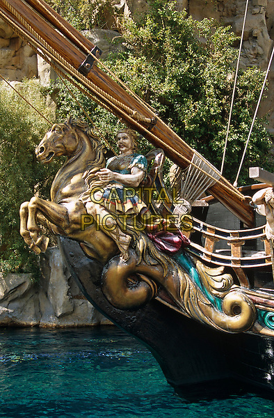 Wooden carving on Galleon in front of Treasure Island Hotel and Casino, Las Vegas, Nevada, USA