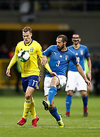 Soccer Football - 2018 World Cup Qualifications - Europe - Italy vs Sweden - San Siro, Milan, Italy - November 13, 2017 <br /> Sweden's John Guidetti (l) in action with Italy's Giorgio Chiellini (r) during the FIFA World Cup 2018 qualification football match between Italy and Sweden at the San Siro Stadium in Milan on November 13, 2017.<br /> UPDATE IMAGES PRESS/Isabella Bonotto