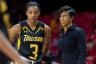 College Park, MD - DEC 6, 2016: Towson Tigers head coach Niki Reid Geckeler talks to Tigers guard Sianni Martin (3) during a break in the action during game between Towson and Maryland at XFINITY Center in College Park, MD. The Terps defeated the Tigers 97-63. (Photo by Phil Peters/Media Images International)