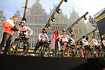 UAE Team Emirates on stage at the team presentation in Antwerp before the start of the 2019 Ronde Van Vlaanderen 270km from Antwerp to Oudenaarde, Belgium. 7th April 2019.<br /> Picture: Eoin Clarke | Cyclefile<br /> <br /> All photos usage must carry mandatory copyright credit (&copy; Cyclefile | Eoin Clarke)
