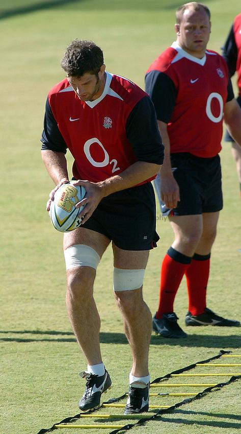 Photo: Steve Holland..England training in Brisbane. 23/06/2004..Simon Shaw, L, Will Green .