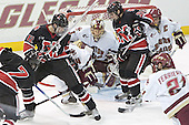 Northeastern scores - Joe Santilli, Dennis McCauley, Mike Brennan, Cory Schneider, Rob Rassey, Peter Harrold, Benn Ferreiro - The Boston College Eagles defeated Northeastern University Huskies 5-3 on Saturday, November 19, 2005, at Kelley Rink in Conte Forum at Chestnut Hill, MA.