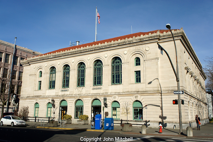 Federal Building and Post Office in downtown Bellingham, Washington State, USA              .           .