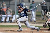 Upper Iowa University Peacocks outfielder Alex George (33) during a game against Slippery Rock University at Frank Tack Field on March 14, 2014 in Clearwater, Florida.  Slippery Rock defeated Upper Iowa 14-9.  (Mike Janes/Four Seam Images)