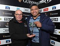 Cardiff Blues&rsquo; Nick Williams is presented with the man of the match award by Tony Jones on behalf of Guinness<br /> <br /> Photographer Kevin Barnes/CameraSport<br /> <br /> Guinness Pro14  Round 14 - Cardiff Blues v Toyota Cheetahs - Saturday 10th February 2018 - Cardiff Arms Park - Cardiff<br /> <br /> World Copyright &copy; 2018 CameraSport. All rights reserved. 43 Linden Ave. Countesthorpe. Leicester. England. LE8 5PG - Tel: +44 (0) 116 277 4147 - admin@camerasport.com - www.camerasport.com