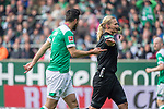 13.04.2019, Weser Stadion, Bremen, GER, 1.FBL, Werder Bremen vs SC Freiburg, <br /> <br /> DFL REGULATIONS PROHIBIT ANY USE OF PHOTOGRAPHS AS IMAGE SEQUENCES AND/OR QUASI-VIDEO.<br /> <br />  im Bild<br /> Claudio Pizarro (Werder Bremen #04)<br /> Bibiana Steinhaus (Schiedsrichter / Referee) <br /> <br /> <br /> Foto © nordphoto / Kokenge