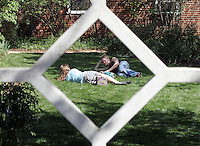 UVa pavilion gardens in spring 2007. Photo/Andrew Shurtleff students