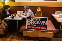 People eat breakfast during a meeting of the Law Enforcement Coalition for Brown at Johnny Jack's Restaurant in Milford, Massachusetts, USA, on Thurs., Nov. 2, 2012. Senator Scott Brown is seeking re-election to the Senate.  His opponent is Elizabeth Warren, a democrat.