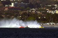 The U-16, Elam Plus (L), U-6, Oh Boy! Oberto and the U-10, York race up the back straight..Hydros-PROP Bayfair,San Diego,CA,USA 9.17.2000.©F.Peirce Williams 2000..