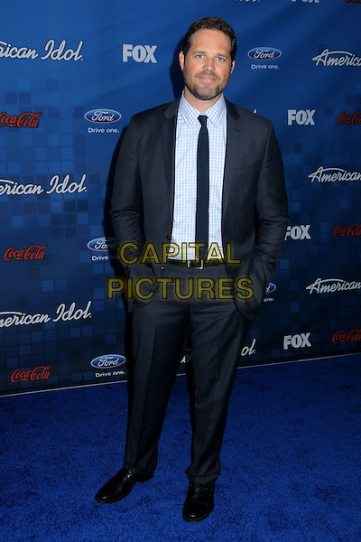 "DAVID DENMAN.Fox's ""American Idol"" Season 10 Finalist Party held at The Grove, Los Angeles, California, USA..March 3rd, 2011.full length white shirt blue grey gray suit hands in pockets tie .CAP/ADM/BP.©Byron Purvis/AdMedia/Capital Pictures."