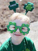 Logan Stotler, 4, of Perkasie, Pennsylvania wears Irish gear while watching the 2nd annual Pennridge St Patrick's Day Parade and Celtic Festival Saturday March 12, 2016 in Sellersville, Pennsylvania. (Photo by William Thomas Cain)