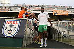 20 September 2014: New York's Danny Mwanga (COD). The Carolina RailHawks played the New York Cosmos at WakeMed Stadium in Cary, North Carolina in a 2014 North American Soccer League Fall Season match. Carolina won the game 5-4.
