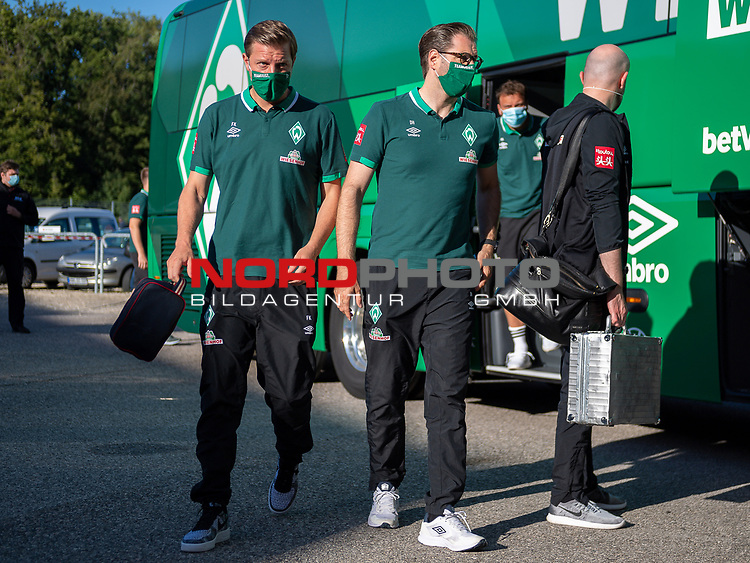 Ankunft am Stadion, Florian Kohfeldt, Trainer (SV Werder Bremen),<br /> <br /> GER, FC Heidenheim vs. Werder Bremen, Fussball, Bundesliga Religation, 2019/2020, 06.07.2020,<br /> <br /> DFB/DFL regulations prohibit any use of photographs as image sequences and/or quasi-video., <br /> <br /> <br /> Foto: EIBNER/Sascha Walther/Pool/gumzmedia/nordphoto