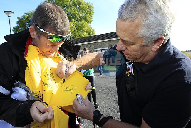 3 times Tour de France winner Greg Lemond (USA) signs autographs at the HADD Charity Cycle starting from the Knightsbrook Hotel, Trim, Co.Meath 7th October 2012 (Photo by Eoin Clarke/NEWSFILE)