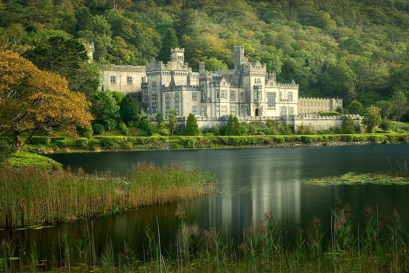 Kylemore Abbey, and lake. Connemara region, Ireland
