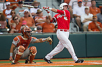 Houston Cougars pinch hitter Jacob Campbell (42) follows through on his swing during the NCAA baseball game against the Texas Longhorns on June 6, 2014 at UFCU Disch–Falk Field in Austin, Texas. The Longhorns defeated the Cougars 4-2 in Game 1 of the NCAA Super Regional. (Andrew Woolley/Four Seam Images)