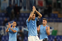 Football, Serie A: S.S. Lazio - Udinese Olympic stadium, Rome, December 1, 2019. <br /> Lazio's Ciro Immobile (c) celebrates with his teammates after winning 3-0 the Italian Serie A football match between S.S. Lazio and Udinese at Rome's Olympic stadium, Rome on December 1, 2019.<br /> UPDATE IMAGES PRESS/Isabella Bonotto