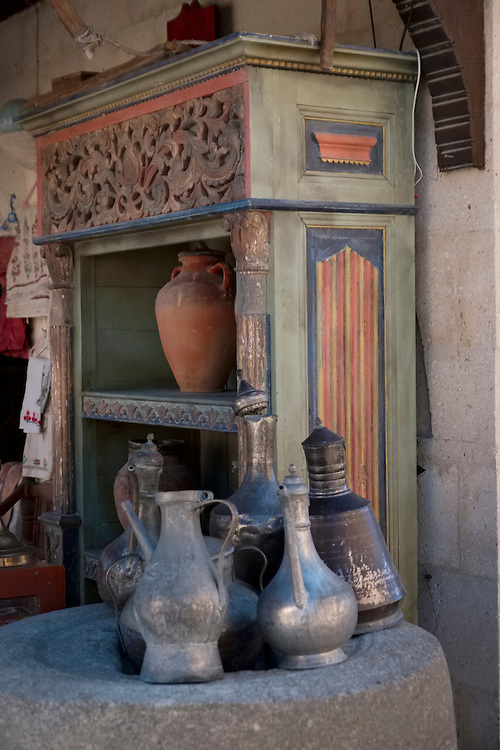 Kitchenware in a street shop in Uchisar, Cappadocia tell of a distant past.