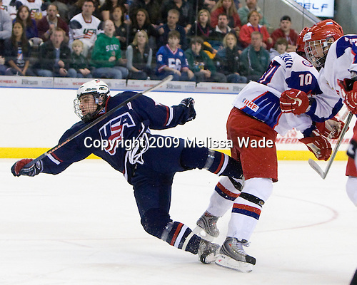 Ryan Bourque (US - 17), Vladimir Tarasenko (Russia - 10), Nikita Zaycev (Russia - 22) - The US defeated Russia 5-0 in the 2009 World Under 18 Championship gold medal game at the Urban Plains Center in Fargo, North Dakota, on Sunday, April 19, 2009.