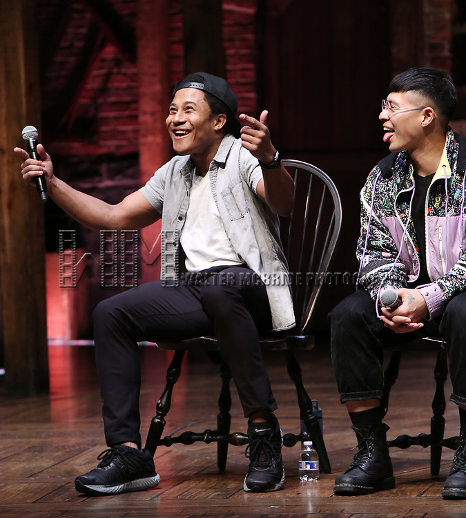 """Daniel Yearwood and Preston Mui during the Q & A before The Rockefeller Foundation and The Gilder Lehrman Institute of American History sponsored High School student #eduHAM matinee performance of """"Hamilton"""" at the Richard Rodgers Theatre on 3/12/2020 in New York City."""
