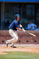 Mobile BayBears third baseman Zach Houchins (8) follows through on a swing during a game against the Pensacola Blue Wahoos on April 26, 2017 at Hank Aaron Stadium in Mobile, Alabama.  Pensacola defeated Mobile 5-3.  (Mike Janes/Four Seam Images)