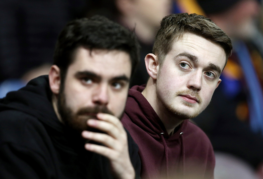 Burnley fans watch anxiously as their side heads towards a bruising 1 - 5 home defeat<br /> <br /> Photographer Rich Linley/CameraSport<br /> <br /> The Premier League - Burnley v Everton - Wednesday 26th December 2018 - Turf Moor - Burnley<br /> <br /> World Copyright © 2018 CameraSport. All rights reserved. 43 Linden Ave. Countesthorpe. Leicester. England. LE8 5PG - Tel: +44 (0) 116 277 4147 - admin@camerasport.com - www.camerasport.com
