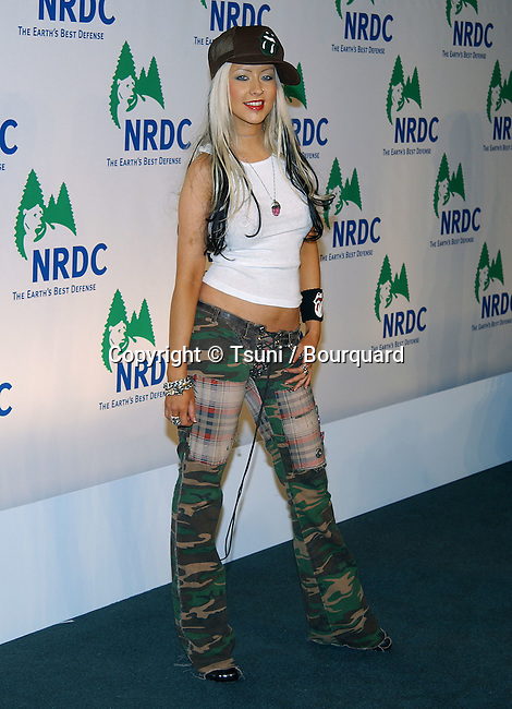 """Christina Aguilera arriving at the """" NRDC PRESENTS THE ROLLING STONES IN A FREE CONCERT TO FIGHT GLOBAL WARMING STAPLES CENTER IN LOS ANGELES. February 6. 2003"""