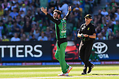 10th February 2019, Melbourne Cricket Ground, Melbourne, Australia; Australian Big Bash Cricket, Melbourne Stars versus Sydney Sixers;  Glenn Maxwell of the Melbourne Stars celebrates the wicket of  Moises Henriques of the Sydney Sixers