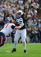 31 October 2015:  Penn State DT Austin Johnson (99) leaps to bat down a pass at the line of scrimmage. The Penn State Nittany Lions defeated the Illinois Fighting Illini 39-0 at Beaver Stadium in State College, PA. (Photo by Randy Litzinger/Icon Sportswire)