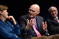Washington, DC - February 11, 2015: Political strategist James Carville (c) participates in a panel discussion on the history and importance of the New Hampshire primary held at the Newseum in the District of Columbia February 11, 2015. (L-R) Sen. Jeanne Shaheen, Tom Rath.  (Photo by Don Baxter/Media Images International)