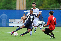 10 September 2011:  FIU's Colby Burdette (2) scores a goal in the second half as the FIU Golden Panthers defeated the Stetson University Hatters, 3-2 in the second overtime period, at University Park Stadium in Miami, Florida.