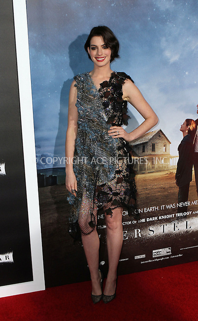 ACEPIXS.COM<br /> <br /> November 3 2014, New York City<br /> <br /> Anne Hathaway arrives at the 'Interstellar' New York premiere at AMC Lincoln Square Theater on November 3, 2014 in New York City. <br /> <br /> By Line: Nancy Rivera/ACE Pictures<br /> <br /> ACE Pictures, Inc.<br /> www.acepixs.com<br /> Email: info@acepixs.com<br /> Tel: 646 769 0430