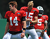 Sam Darnold #14 of the New York Jets, left, stretches with fellow quarterbacks Josh McCown #15, center, and Teddy Bridgewater #5 during Training Camp at the Atlantic Health Jets Training Center in Florham Park, NJ on Tuesday, Aug. 7, 2018.