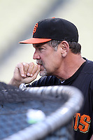 San Francisco Giants Manager Bruce Bochy #15 before a game against the Los Angeles Dodgers at Dodger Stadium on May 9, 2012 in Los Angeles,California. Los Angeles defeated San Francisco 6-2. (Larry Goren/Four Seam Images)