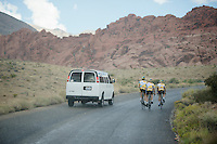 Telenet-Fidea riders training in Red Rock Canyon (NV) ahead of Cross Vegas 2014 are surprised by the rain (instead of the 40°C heat) while the support car can't even provide them with rain-jackets (they didn't bring)