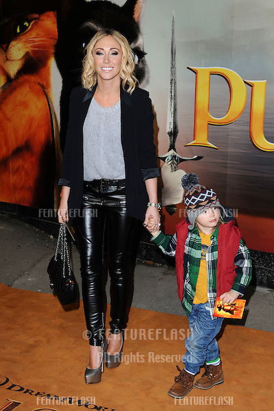 "Jenny Frost and son Jasper arriving for the ""Puss in Boots"" premiere at the Empire Leicester Square, London. 24/11/2011  Picture by: Steve Vas / Featureflash"