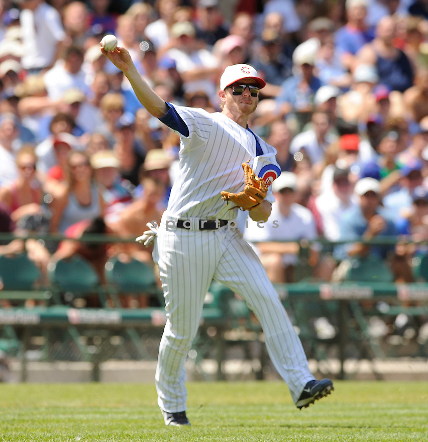 MIKE FONTENOT,  of the Chicago Cubs,  in action  during the Cubs  game against the Cincinnati Reds in Chicago, Illinois on July 4, 2010. The Cincinnati Reds beat the Chicago Cubs b14-3..