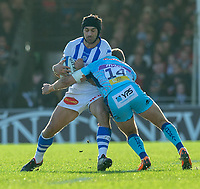 Castres Robert Ebersohn is tackled by Exeter Chiefs' Santiago Cordero<br /> <br /> Photographer Bob Bradford/CameraSport<br /> <br /> European Rugby Heineken Champions Cup Pool 2 - Exeter Chiefs v Castres - Sunday 13th January 2019 - Sandy Park - Exeter<br /> <br /> World Copyright © 2019 CameraSport. All rights reserved. 43 Linden Ave. Countesthorpe. Leicester. England. LE8 5PG - Tel: +44 (0) 116 277 4147 - admin@camerasport.com - www.camerasport.com