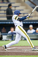 Michigan Wolverines outfielder Johnny Slater (25) swings the bat against the Bowling Green Falcons on April 6, 2016 at Ray Fisher Stadium in Ann Arbor, Michigan. Michigan defeated Bowling Green 5-0. (Andrew Woolley/Four Seam Images)