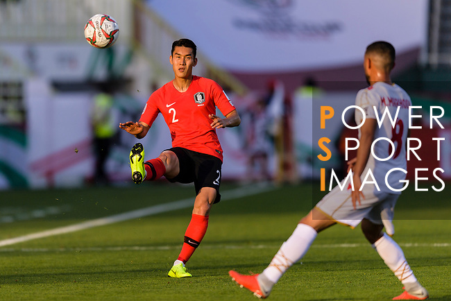 Lee Yong of South Korea (L) in action during the AFC Asian Cup UAE 2019 Round of 16 match between South Korea (KOR) and Bahrain (BHR) at Rashid Stadium on 22 January 2019 in Dubai, United Arab Emirates. Photo by Marcio Rodrigo Machado / Power Sport Images