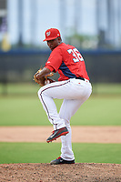 GCL Nationals relief pitcher Carlos Cuello (36) delivers a pitch during a game against the GCL Mets on August 4, 2018 at FITTEAM Ballpark of the Palm Beaches in West Palm Beach, Florida.  GCL Nationals defeated GCL Mets 7-4.  (Mike Janes/Four Seam Images)