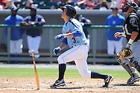 Tennessee Smokies designated hitter Jae-Hoon Ha #23 swings at a pitch during a game between the Jackson Generals and the Tennessee Smokies at Smokies Park, Kodak, Tennessee April 11, 2012. The Generals won 2-1  (Tony Farlow/Four Seam Images)..
