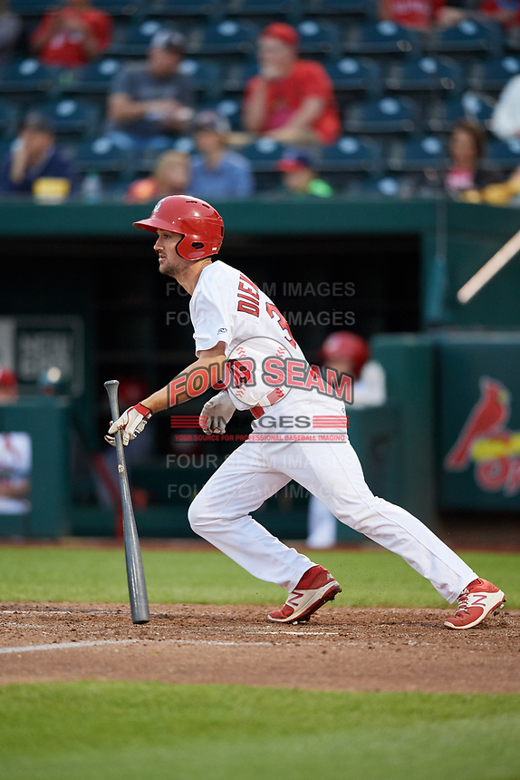 Springfield Cardinals third baseman Danny Diekroeger (30) follows through on a swing during a game against the Corpus Christi Hooks on May 31, 2017 at Hammons Field in Springfield, Missouri.  Springfield defeated Corpus Christi 5-4.  (Mike Janes/Four Seam Images)